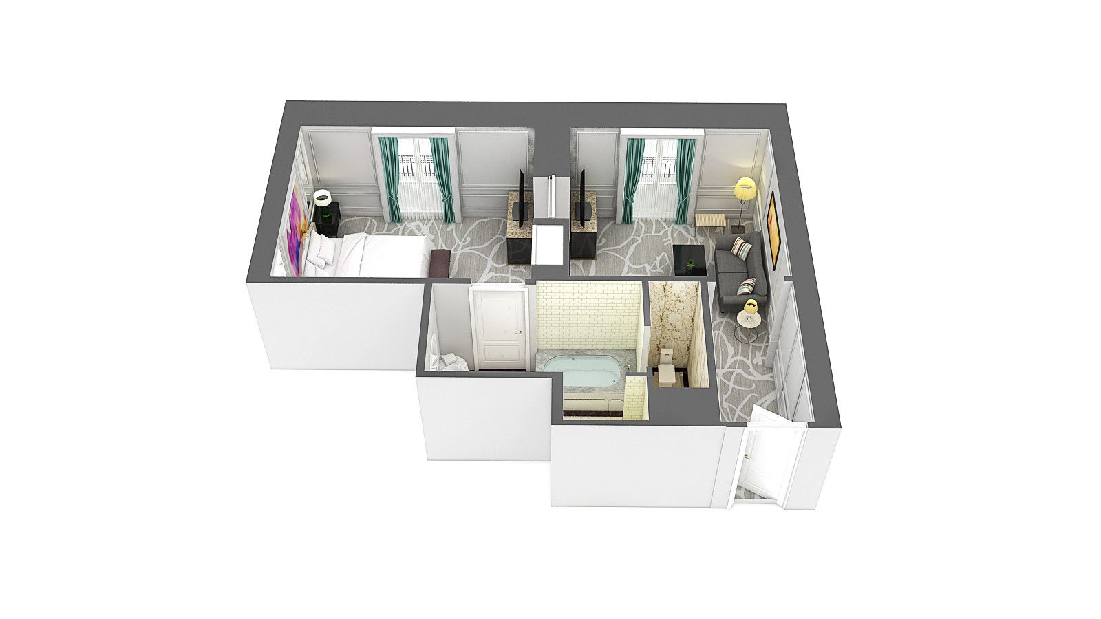 3d floor plan of the junior suite at Hotel Maria Cristina