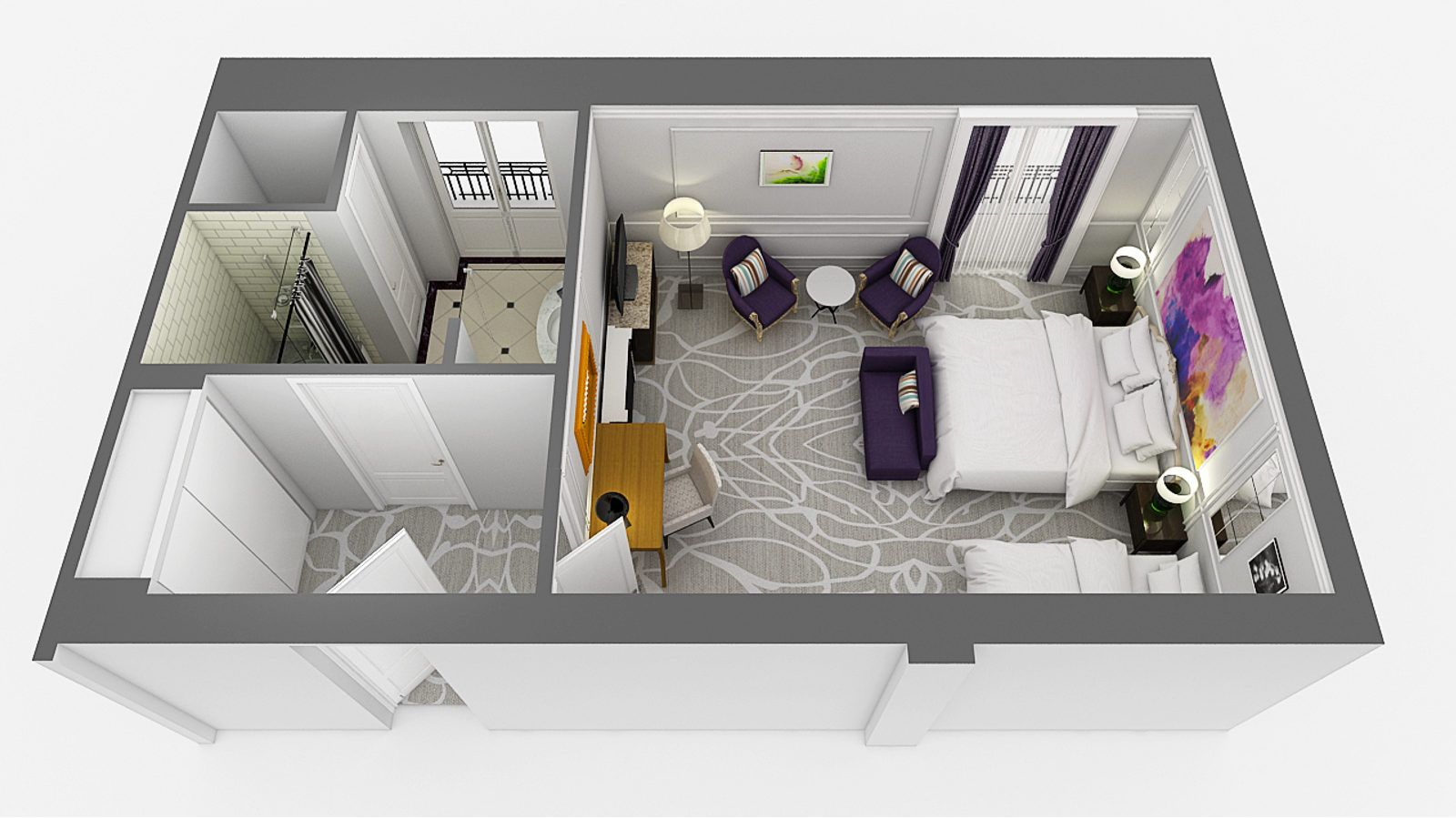 3d floor plan of the River View Suite at Hotel Maria Cristina