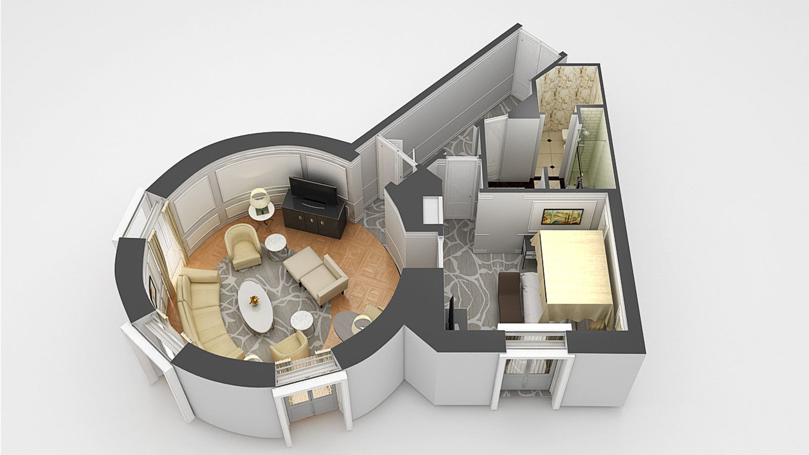3d floor plan of the bette Davis Suite
